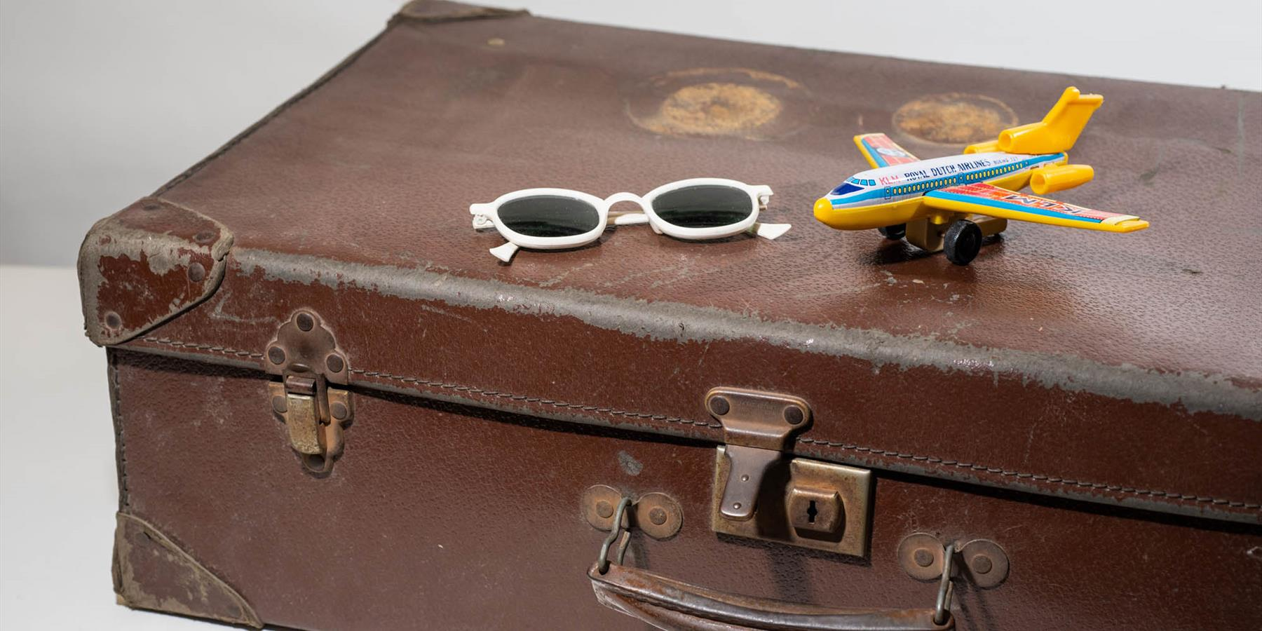 Sunglasses and suitcase