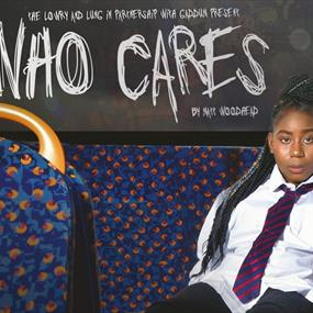 Who Care poster. Girl sitting on a bus