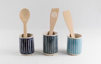Three little blue pots