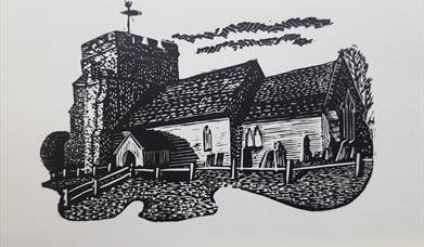 Woodcut of Hamsey Church by Keith Petit