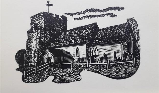 Woodcut of Hamsey Church by Keith Petit