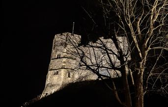 Lewes Castle at night