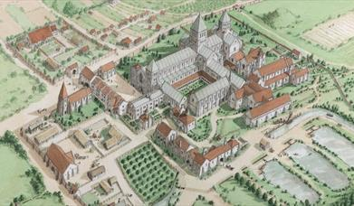 Aerial view drawing of the Priory