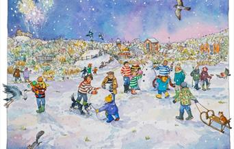 Snowmen on the Railway Land by Lyndsey Smith