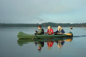 Canoeing with three people