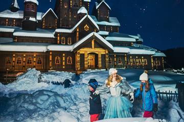 The Ice Princess outside the fairytale castle at Hunderfossen Winter Park