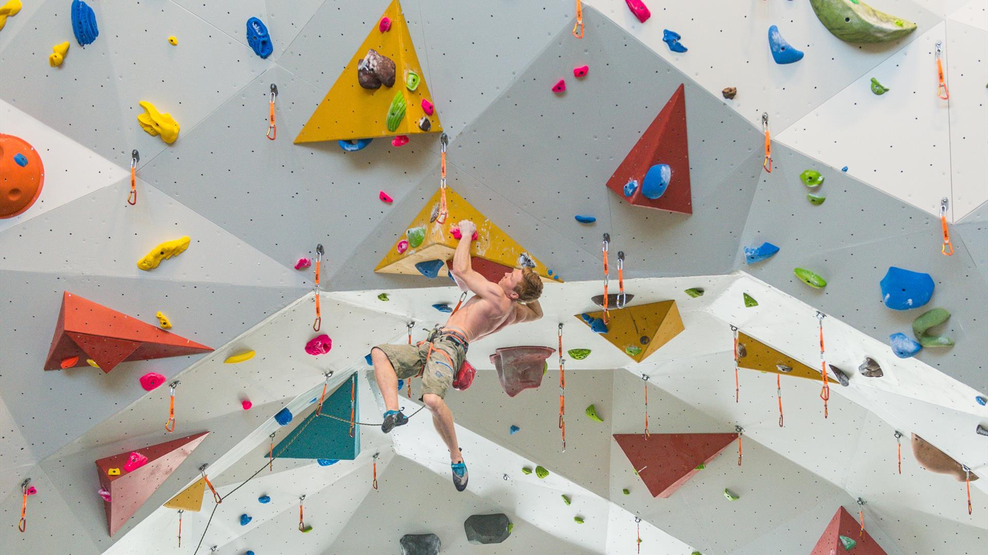 In the climbing wall at Tyrili Climbing Center