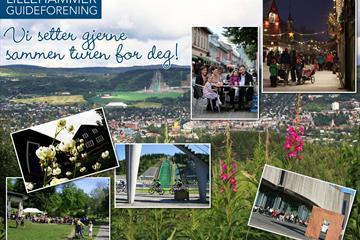 Different pictures from Lillehammer : Bjerkebæk, Lysgårdsbakkene, Gågata, Lillehammer Art Museum and the park