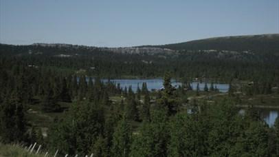 View over a mountain lake.