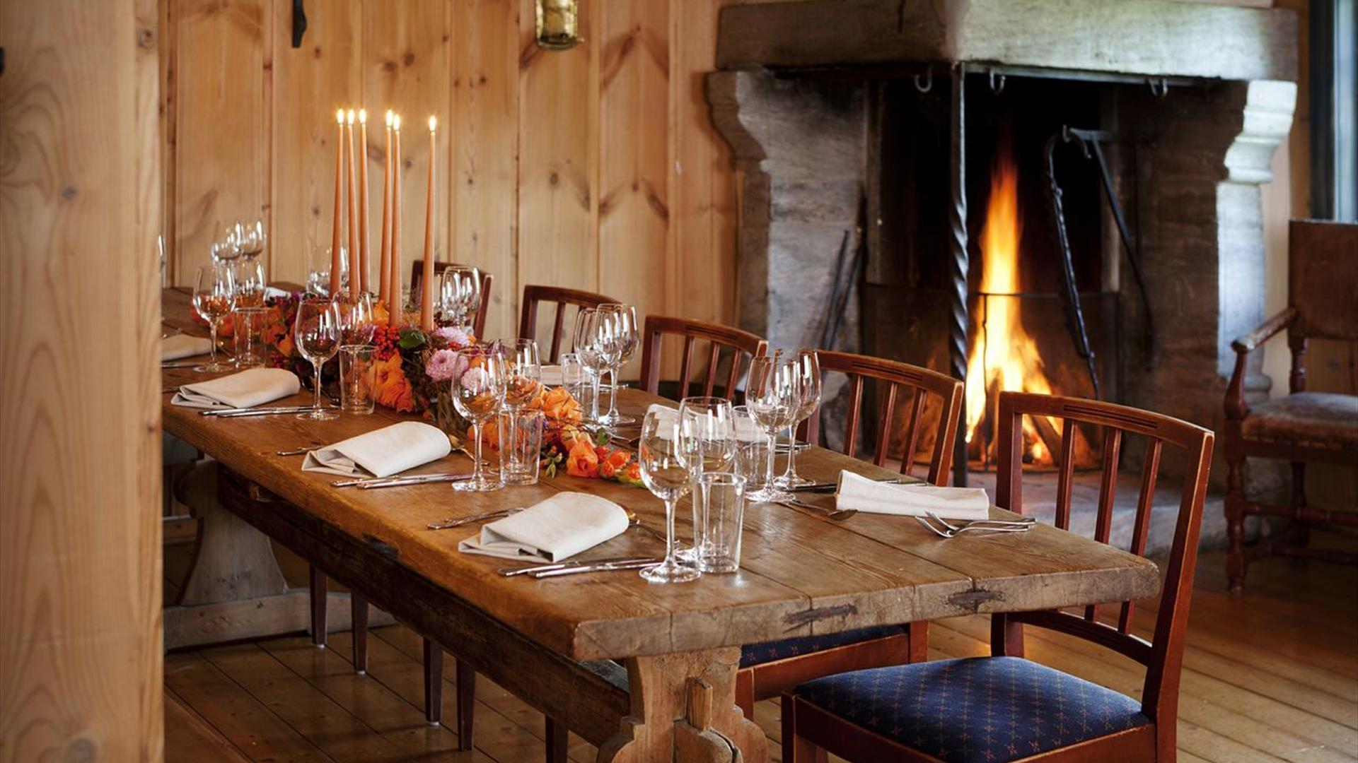 "Table in the dining room ""Gjestestua"" , Frich`s Spiseri Maihaugen"