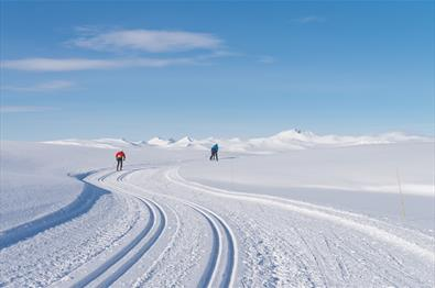 Mountains and cross country skiers on a bluebird day. The peaks of Rondane in view. Spidsbergseter Resort Rondane
