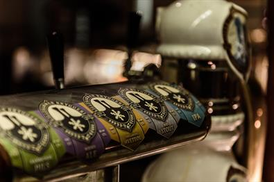 Beer taps at Lillehammer bryggeri