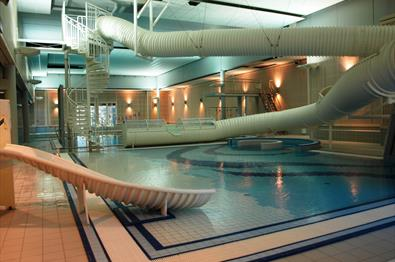 The pool and the slides at Fron Leisure Pool