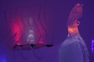 Ice sculptures inside Hunderfossen Snowhotel