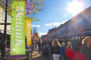 Bannere for Mataukfestivalen i gågata i Lillehammer
