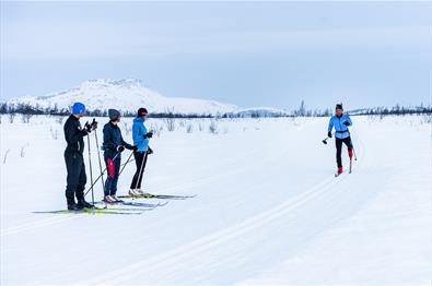 Skigåere ser på instruktøren som demonstrerer skiteknikk i skisporet.