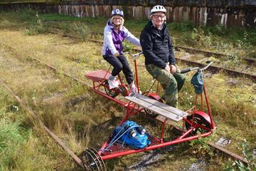 2 guests trying the Rail Tricycle Ride in Valdres