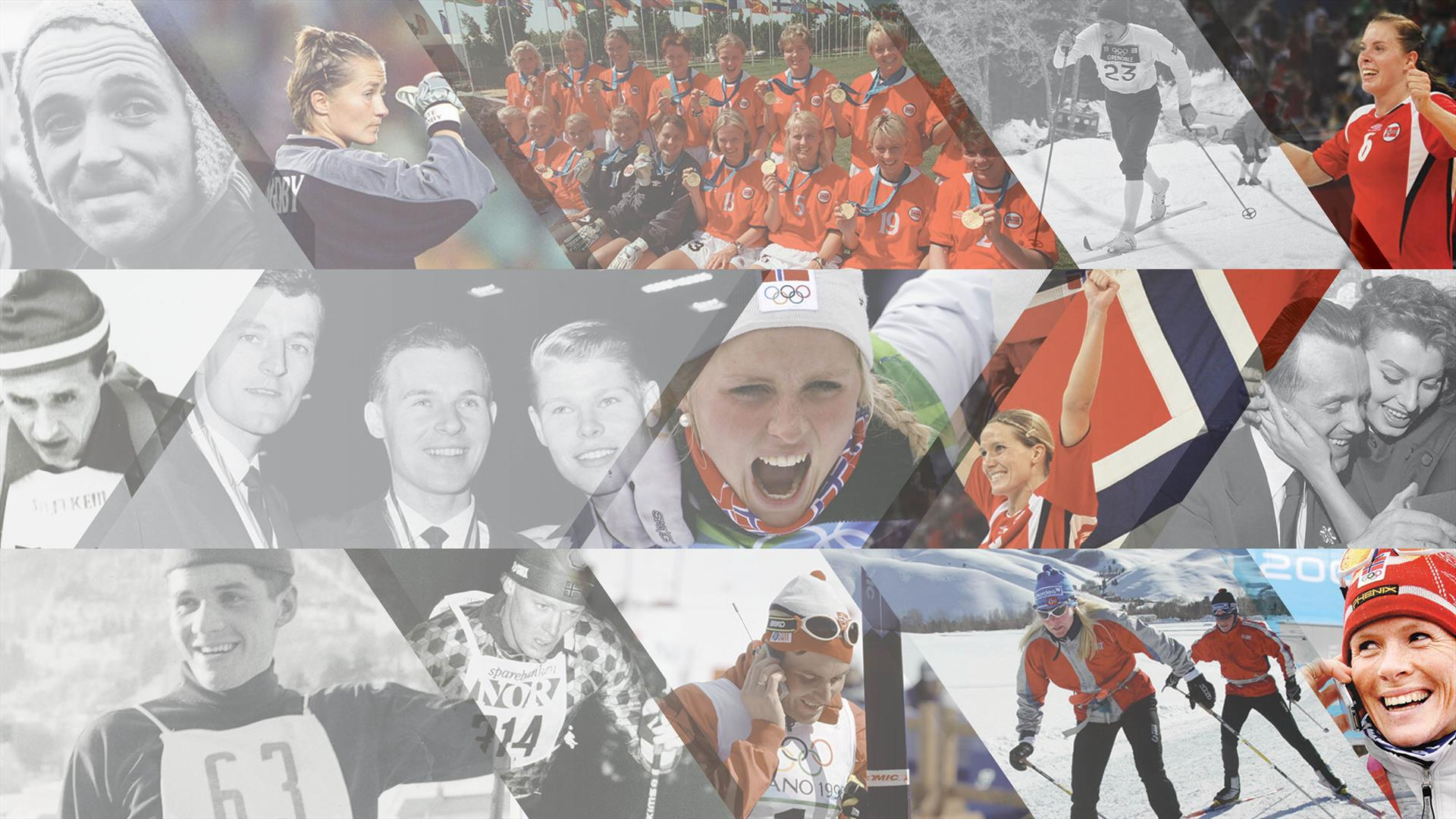 Collage with athletes from different times.