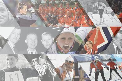 Collage med mange idrettsutøvere fra ulike tider.
