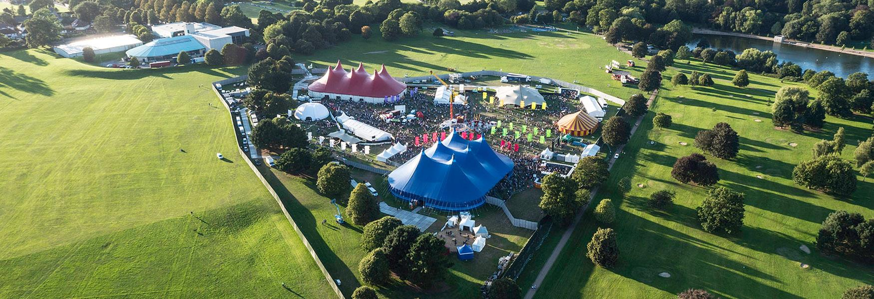 Aerial view of a Festival in Mote Park