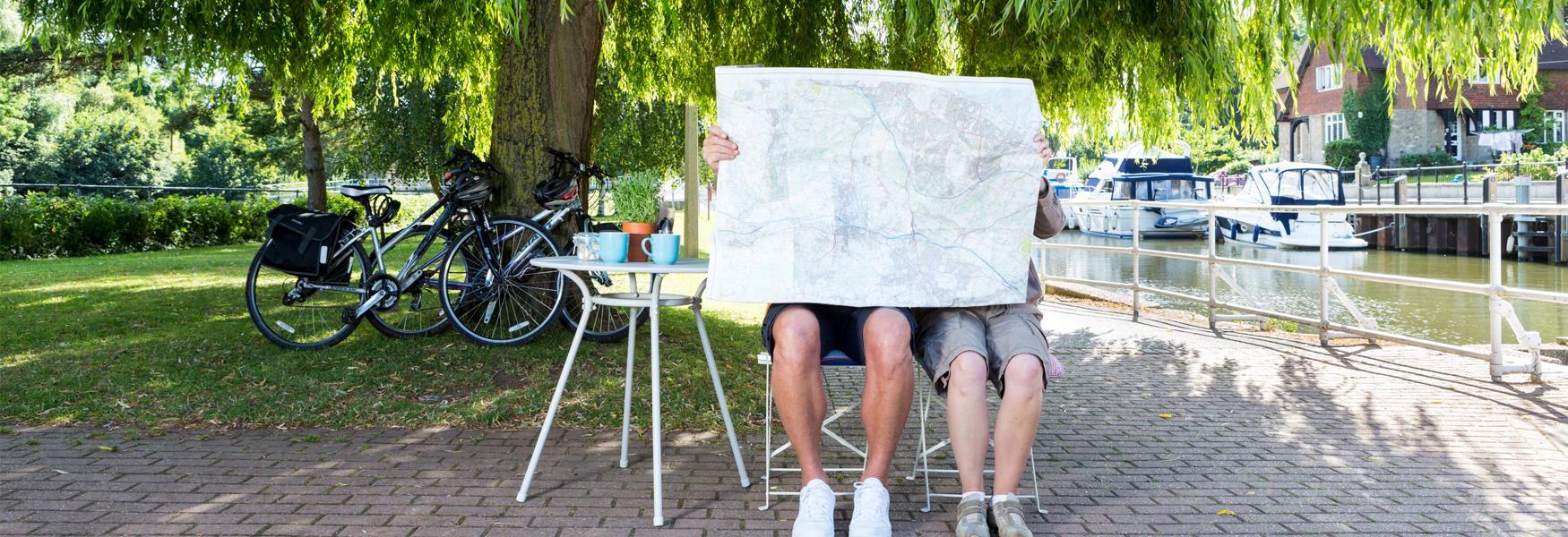Cyclists taking a break at Allington Lock