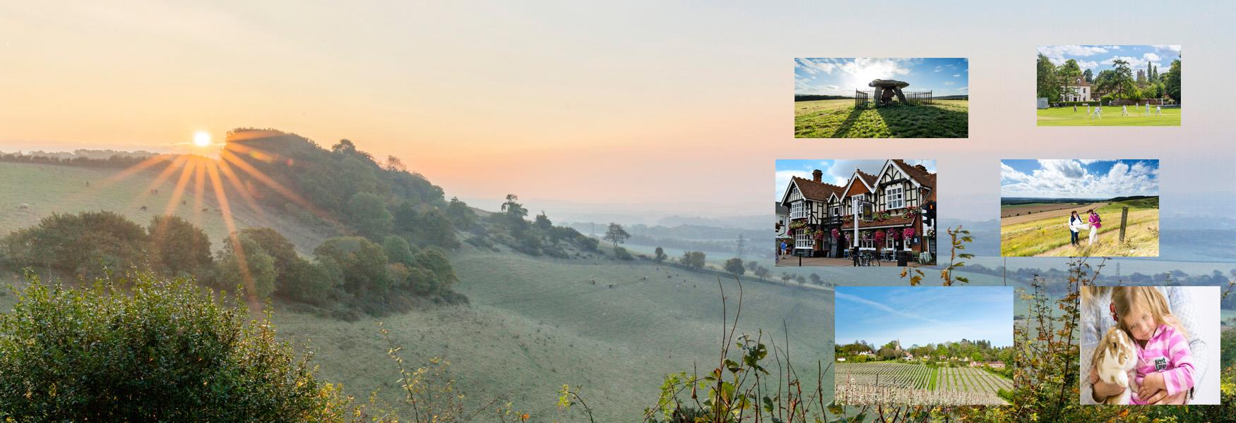 Sunrise over the North Downs, near Maidstone, Kent
