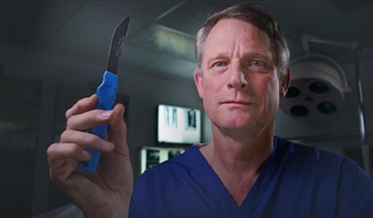 Dr Richard Shepherd with scalpel