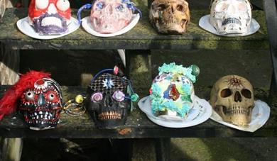 Painted skulls on a shelf