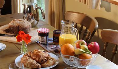 Breakfast buffet at Brick Kiln Cottage