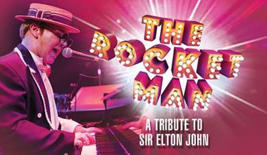 The Rocket Man logo with Elton John