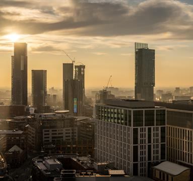 Manchester City Centre Aerial Shot Featuring Skyscrapers