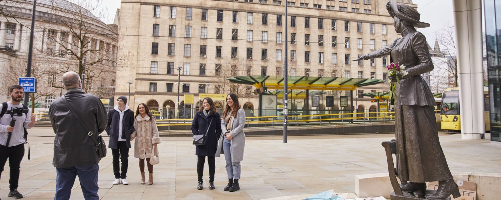 Guided tour in St Peters Square, Manchester