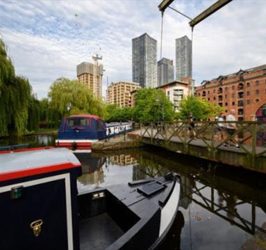 castlefield canals, barges and skyscrapers