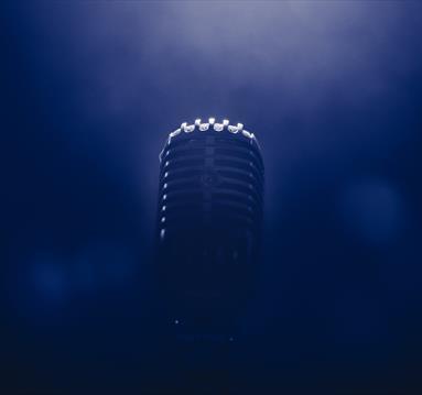 Microphone in blue smoke