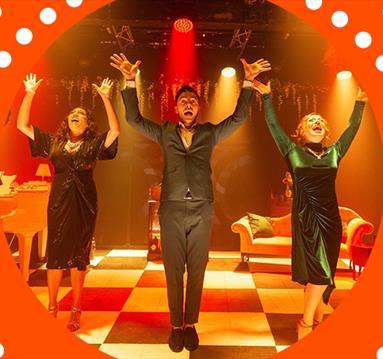 People dancing on stage, orange frame