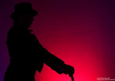 Human shadow, purple background