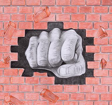 Drawing: hand kicking out brick wall