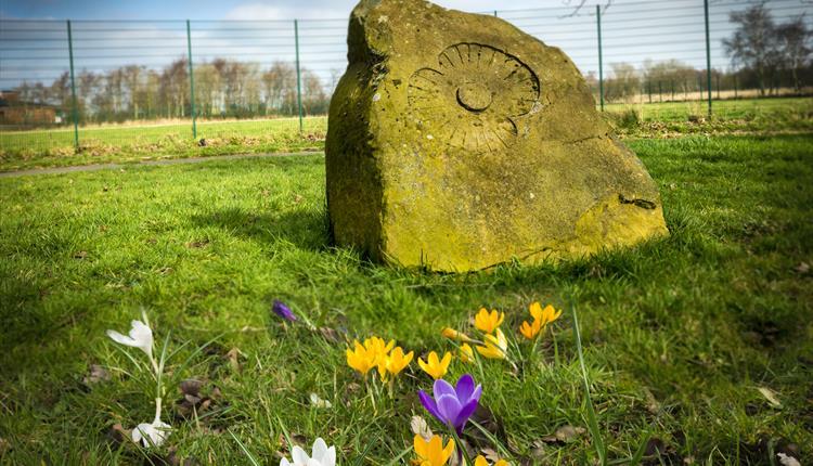 The memorial stone at Bowlee Park.