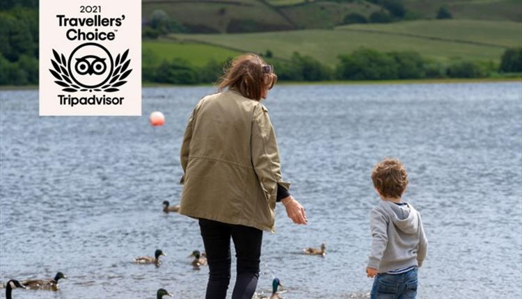 A mother and child feeding ducks at Hollingworth Lake.