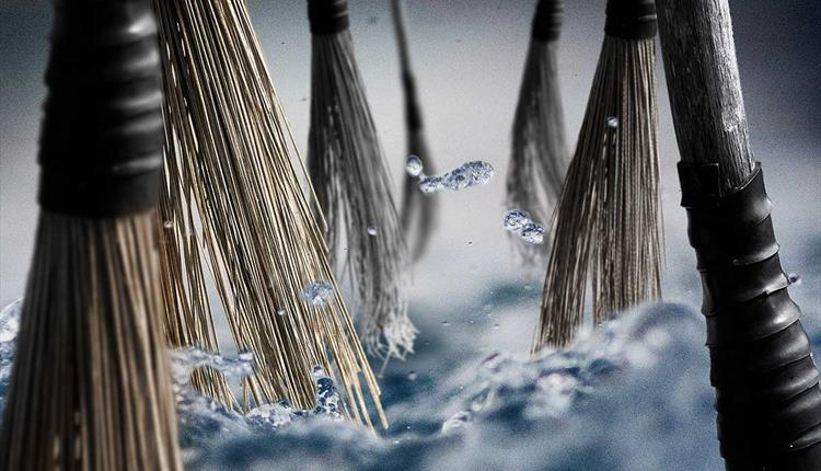 Close up of water and brooms