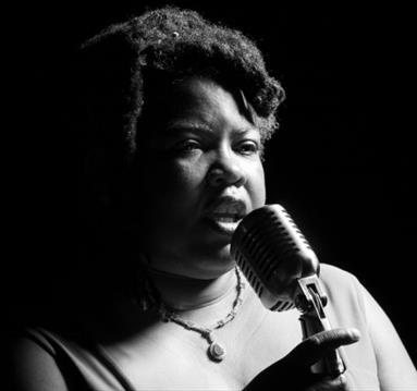 Cheryl Martin in black and white
