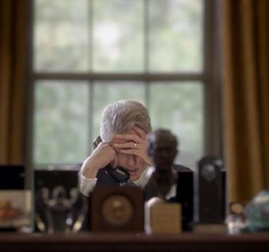 Bill Clinton on a phone