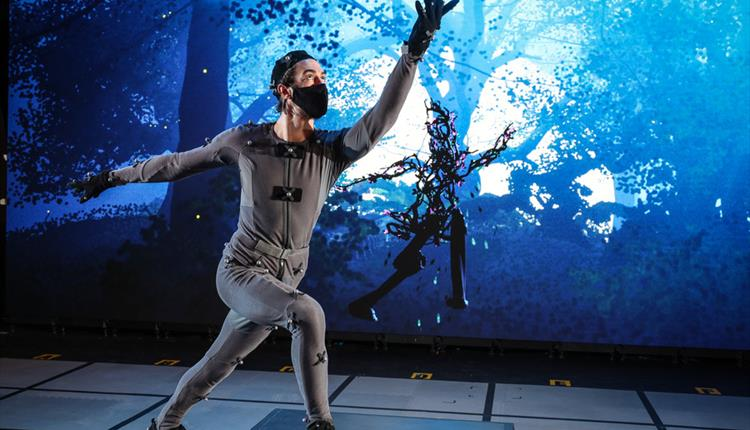 Man in motion capture suit for performance of Dream. Photo by Stuart Martin