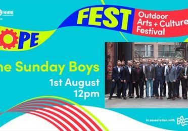 Blue poster: HOPE FEST: The Sunday Boys