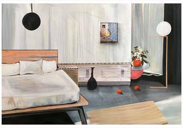 Painting from the 2020 Graduate Exhibition Room with bed and flowers