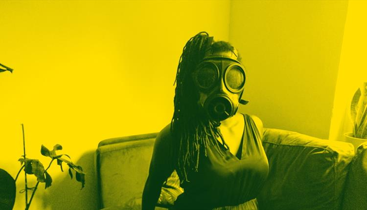 Woman with a gas mask