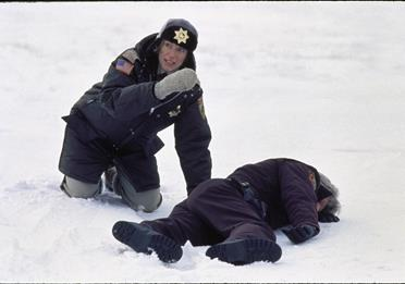 Two policemen on a snow