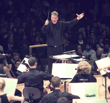 Conductor during a concert
