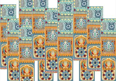 Intricate ornament, blue and yellow