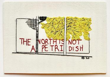Embroidery saying : The North is not a petri dish